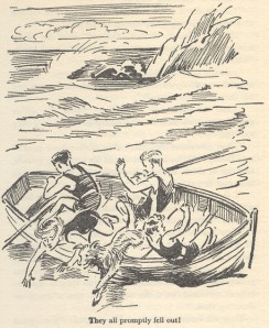 "The Five find themselves washes up on Whispering Island in ""Five Have a Mystery to Solve"" illustrated by Eileen Soper"