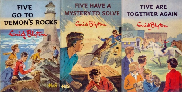 "First edition dustjackets for ""Five Go to Demon's Rocks"", ""Five Have a Mystery to Solve"" and ""Five Are Together Again"" illustrated by Eileen Soper"