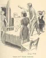 "Irene brandishing her hairbrush so fiercely she nearly hits Belinda in the face in ""In the Fifth at Malory Towers"" illustrated by Stanley Lloyd."