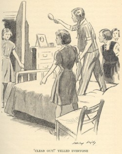 """Irene brandishing her hairbrush so fiercely she nearly hits Belinda in the face in """"In the Fifth at Malory Towers"""" illustrated by Stanley Lloyd."""