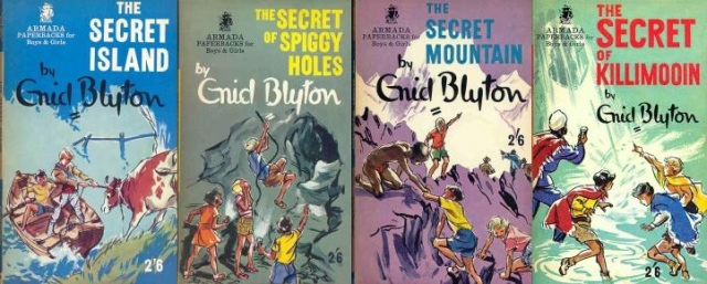 "Armada paperbacks of ""The Secret Island, The Secret of Spiggy Holes"", ""The Secret Mountain"", ""The Secret of Killimooin"" and ""The Secret of Moon Castle"", covers all by Mary Gernat"