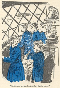 "At the top of the lighthouse in ""Five Go to Demon's Rocks"" illustrated by Eileen Soper"