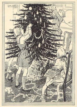 The children decorating the tree