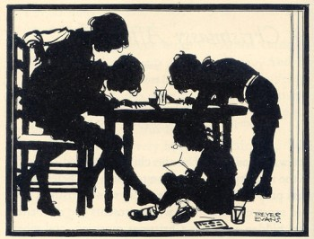 Silhouette drawing of the children making Christmas cards.