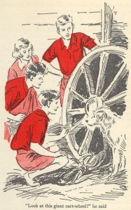 "Five explore the farm in ""Five on Finniston Farm"" illustrated by Eileen Soper"