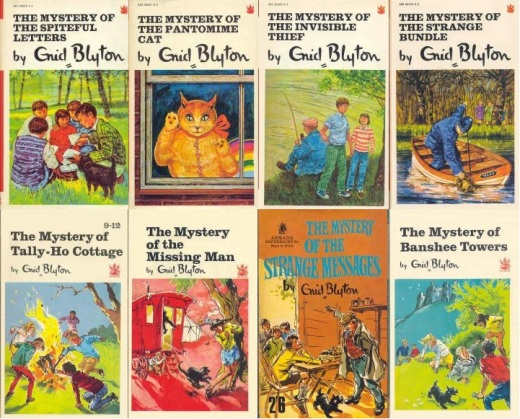 "Paperbacks of ""Spiteful Letters"", ""Pantomime Cat"", ""Invisible Thief"", ""Strange Bundle"", ""Tally-Ho Cottage"", ""Mystery Man"", ""Strange Messages"" and Banshee Towers"