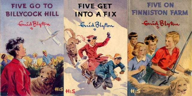 "First edition dustjackets from ""Five Go to Billycock Hill"", ""Five Get Into a Fix"" and ""Five on Finniston Farm"" illustrated by Eileen Soper"