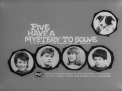 The title screen for the 1964 British Film Foundation film, Five have a Mystery to Solve.