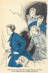 "The five are scared out of the caves in ""Five Go to Billycock Hill"" illustrated by Eileen Soper"
