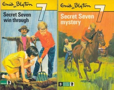 "Knight paperbacks of ""Secret Seven Win Through"" and ""Secret Seven Mystery"""