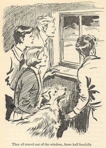 "The Five see a strange sight from the cabin in ""Five Get Into a Fix"" illustrated by Eileen Soper"