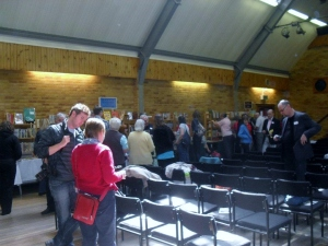Society members and book stalls at Loddon Hall