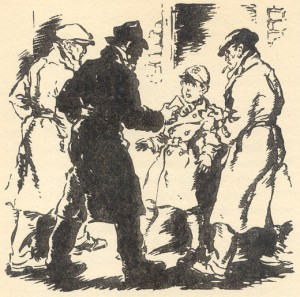 George is mistaken for a messenger by the men, illustrated by George Brook