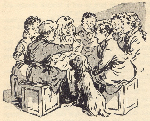 "Scamper at a SS meeting in ""The Secret Seven"" drawn by George Brook"