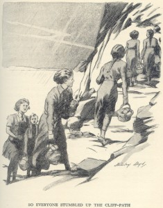 The girls moving their Midnight feast indoors. Illustration by Stanley Lloyd.