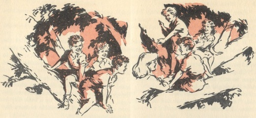 The Seven up the tree, illustration by George Brook