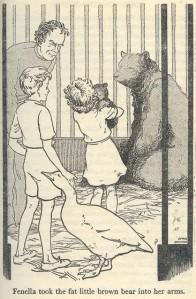 Fenella cuddling Bobbo, the baby bear.