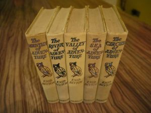 The spines of five of the Adventure Series set. Picture taken from E-Bay listing.