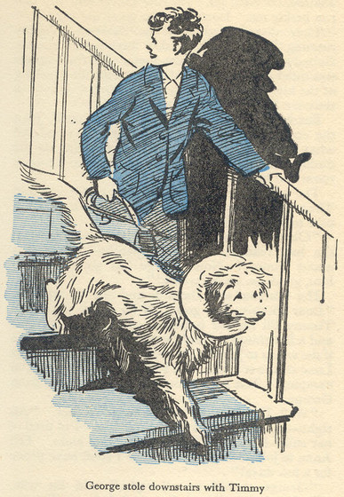 Timmy in his Collar leaving with George by Eileen Soper in Five on a Secret Trail.