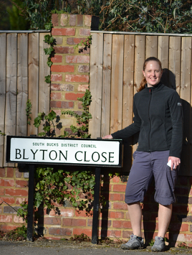 Corinna at Blyton Close in Beaconsfield where Enid Blyton's house, Green Hedges, once stood.