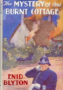 Dustjacket picture of the Mystery of the Burnt Cottage by Dorothy Brook.