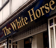 The pub sign for the White Horse in Beckenham. Taken from their website.