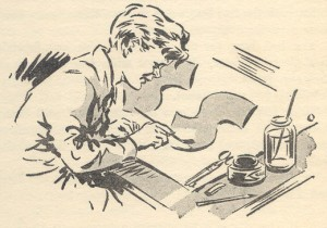 Peter at work on the Secret Seven Sign. Drawn by George Brook 1949.
