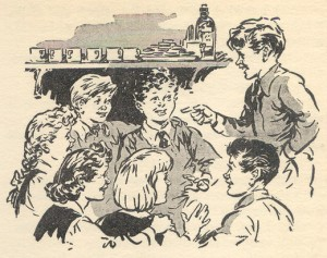 Peter conducting a Secret Seven meeting. Drawn by George Brook 1949.