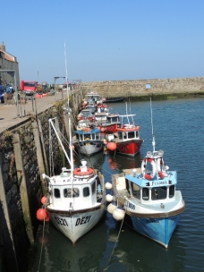 Fishing boats all lined up by the East Sands