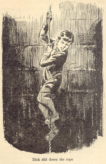 Dick climbing down the well in 'Five on a Treasure Island'