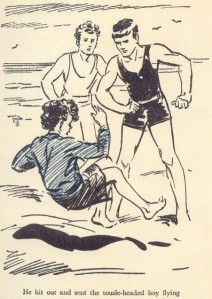 Dick hits Jo in 'Five Fall Into Adventure.'