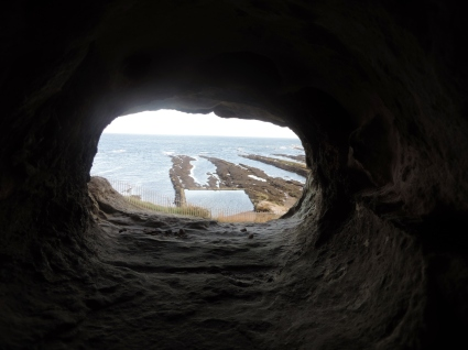 Looking out a defensive window in St Andrews Castle