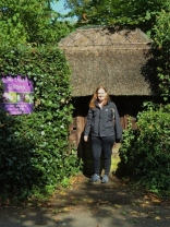 Corinna outside the lych gate of Old Thatch