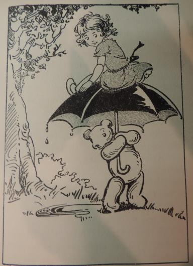 The teddy bear unwittingly carries Amelia Jane home