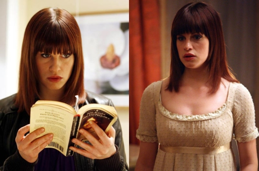 Jemima Rooper in Lost in Austen. In modern clothes on the right, and in period dress on the left. We think she rocks the period look, don't you?