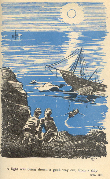 "Julian and George watching the ""Smugglers"" signalling from the Cliff in a superb atmospheric illustration by Eileen Soper"