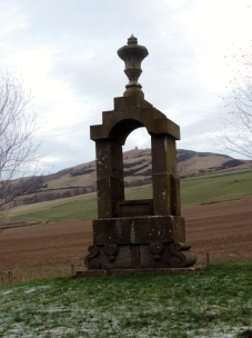 Strange monument in Newtyle (Kinpurney Hill Tower in the background)