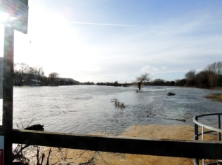 The flooded fields heading towards Marlow