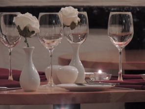 Roses and wine glasses