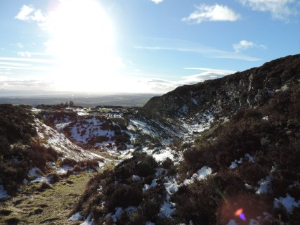 Snow and sun in the Sidlaw Hills