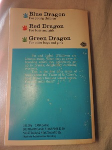 Back Cover of the 1967 Dragon edition, showing the key of the Dragon books.