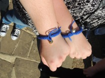 Mine and Fiona's Noddy friendship bracelets, sold at Old Thatch and knitted by J. Hawthorne's 96 year old mother! They're smashing!