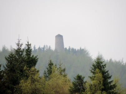 East Lomond and Tyndall Bruce Monument in the haze