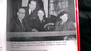 (L-R) Malcolm Saville, Clark Ramsey, publicity manager for George Newnes, Enid Blyton and Richmal Crompton.