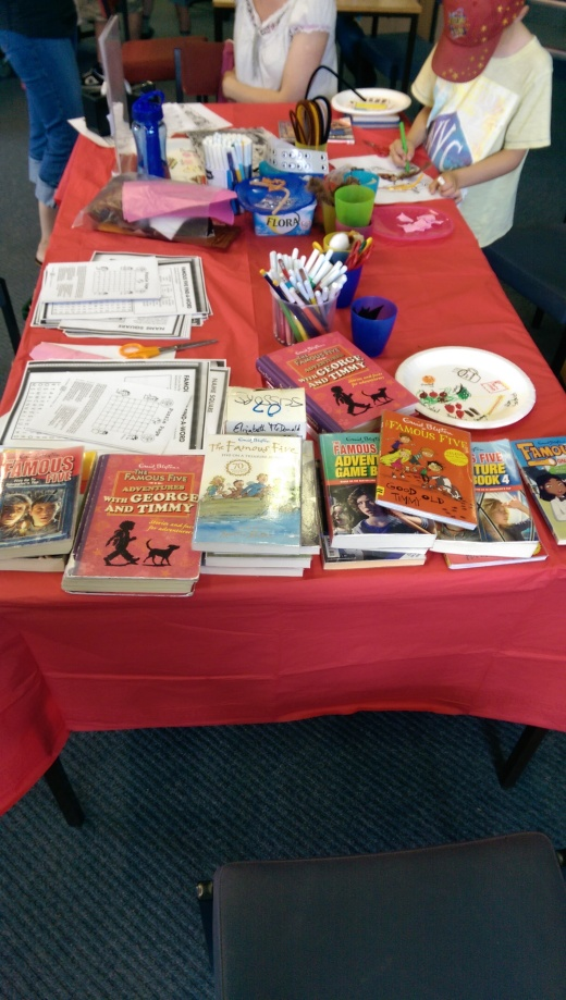 Some of the crafts, and the books I got together for the event.