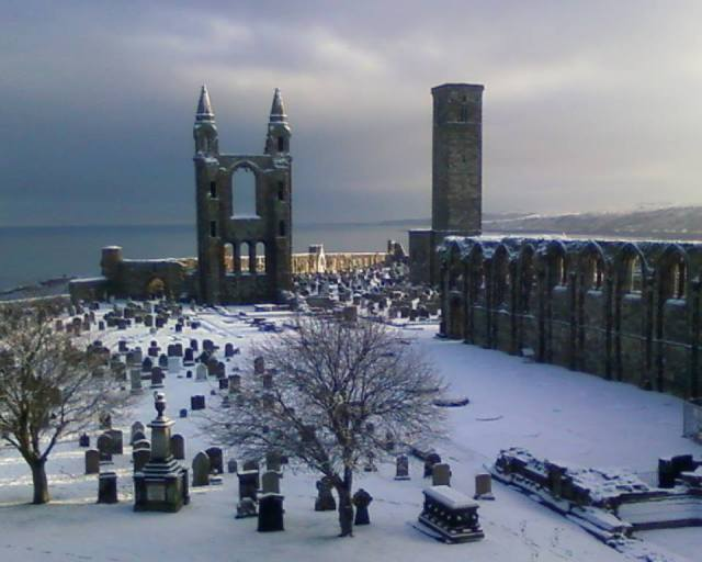 St Andrews Cathedral under snow taken from Facebook