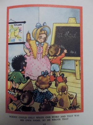 """Noddy answers the question """"what is your favourite thing to eat?"""" by writing his own name."""