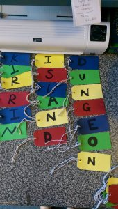 The Treasure hunt tags with the clues as to George's whereabouts are spelt out!