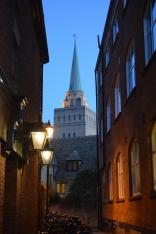 Church steeple in nightlight