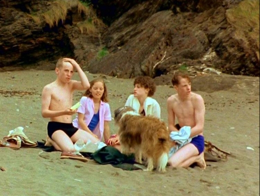 The Five on the beach in Tremmanan (L-R) Paul Child as Dick, Laura Petela as Anne, Connal as Timmy, Jemima Rooper as George and Marco Williamson as Julian